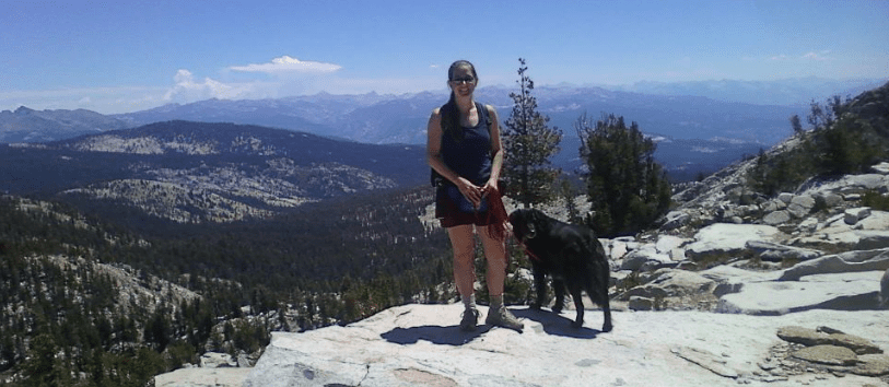 Dante and me backpacking in the Sierra Nevada Mountains in California (2012)
