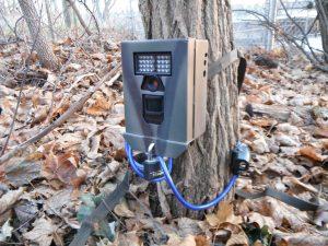 Bushnell surveillance camera in security box.