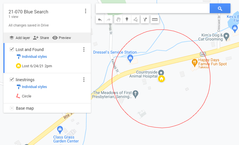Example Google Map Search Radius